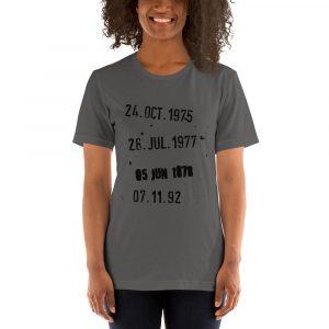 "Camiseta de manga corta unisex ""Fechas Biblioteca"""